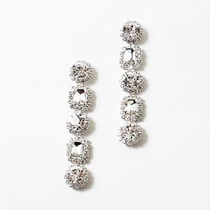Jewelry - SILVER LOOK CLEAR RHINESTONE JEWEL DROP EARRINGS